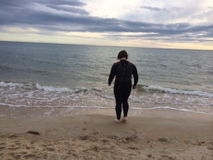 Beach swimming in Melbourne at 16 degrees celcius