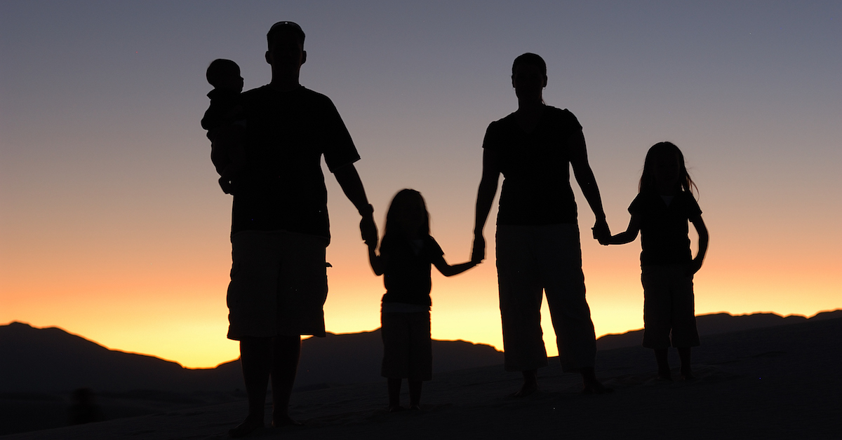 Silhouette of family