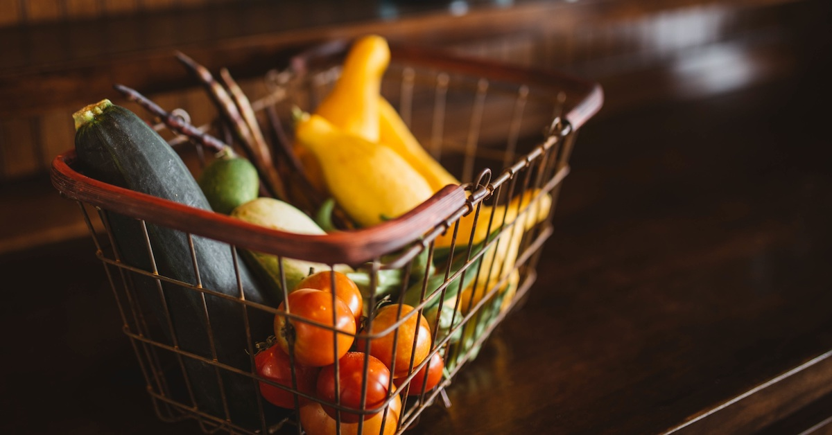 Basket of fresh food, vegetables