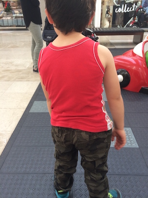 He loves army pants too... and red